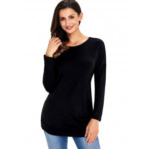Long Sleeve Button Embellished Tunic Top - BLACK M
