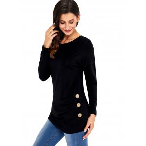 Long Sleeve Button Embellished Tunic Top - BLACK L