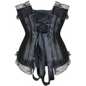 Lace Up Steel Boned Strapless Waist Training Corset - BLACK M