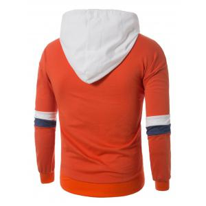 Color Block Panel Drawstring Pullover Hoodie - ORANGE XL