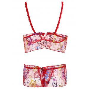 Mesh Flounce Bralette Set - RED ONE SIZE