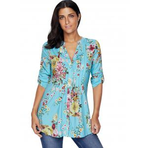 Pleated V Neck Floral Blouse - LIGHT BLUE S