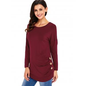 Long Sleeve Button Embellished Tunic Top - WINE RED M