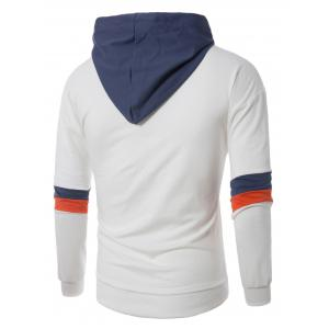 Color Block Panel Drawstring Pullover Hoodie - WHITE 4XL