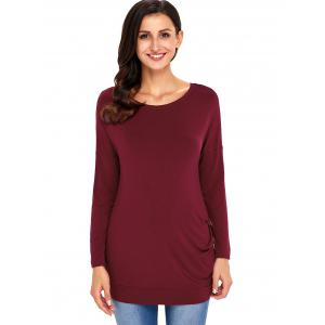 Long Sleeve Button Embellished Tunic Top - WINE RED S