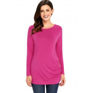 Long Sleeve Button Embellished Tunic Top - ROSE RED XL