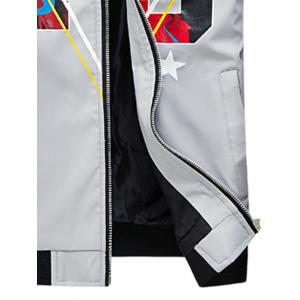 3D Geometric Graphic Print Zip Up Jacket - GRAY 2XL