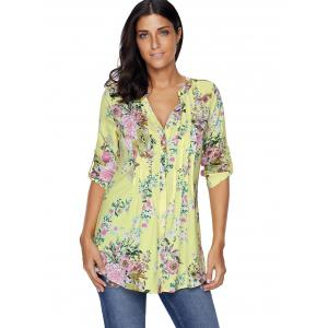 Pleated V Neck Floral Blouse - YELLOW 2XL