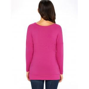 Long Sleeve Button Embellished Tunic Top - ROSE RED L