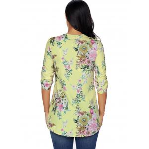 Pleated V Neck Floral Blouse - YELLOW L