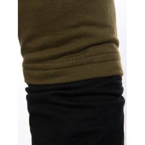 Faux Twinset Panel Pouch Pocket Pullover Hoodie - ARMY GREEN M