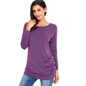 Long Sleeve Button Embellished Tunic Top - PURPLE XL
