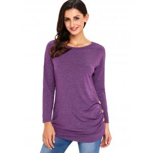 Long Sleeve Button Embellished Tunic Top - PURPLE L