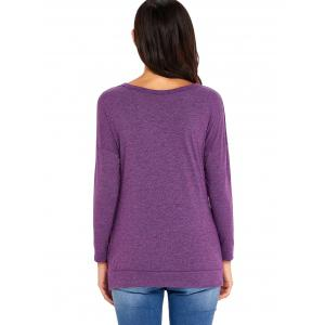 Long Sleeve Button Embellished Tunic Top - PURPLE M