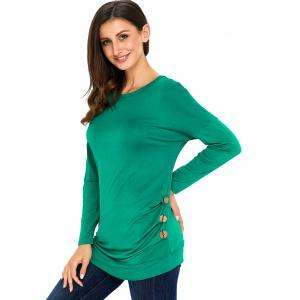Long Sleeve Button Embellished Tunic Top - GREEN 2XL