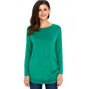 Long Sleeve Button Embellished Tunic Top - GREEN XL