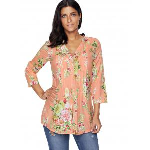 Pleated V Neck Floral Blouse - ORANGEPINK S