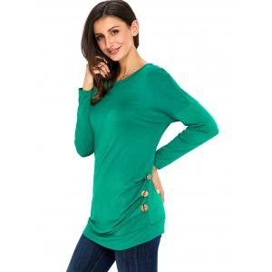 Long Sleeve Button Embellished Tunic Top - GREEN L