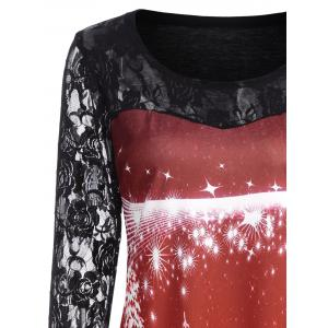 Ugly Christmas Tree Lace Sleeve Top - RED S