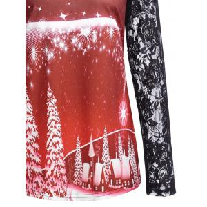 Ugly Christmas Tree Lace Sleeve Top - RED L