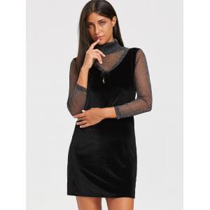 Turtleneck See Through Velvet Mini Dress - BLACK L