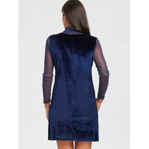 Turtleneck See Through Velvet Mini Dress - ROYAL L