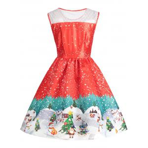 Sleeveless Christmas Print Vintage Dress - RED L