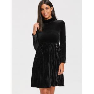 Long Sleeve Turtleneck Mini Velvet Pleated Dress - BLACK 2XL