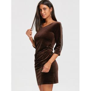 Mesh Insert Mini Velvet Bodycon Dress - DEEP BROWN M