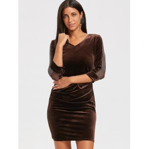 Mesh Insert Mini Velvet Bodycon Dress - DEEP BROWN XL