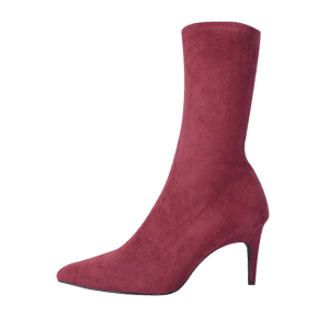 Pointed Toe Stiletto Heel Mid Calf Boots - WINE RED 35