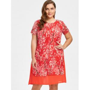 Plus Size Layered  Floral Chiffon Dress -
