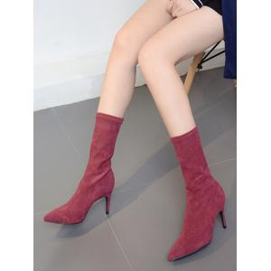 Pointed Toe Stiletto Heel Mid Calf Boots - WINE RED 37