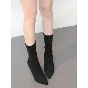 Pointed Toe Stiletto Heel Mid Calf Boots - BLACK 36