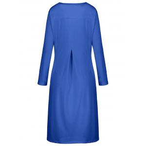 Plus Size Button Embellished Long Sleeve Smock Dress - BLUE 4XL