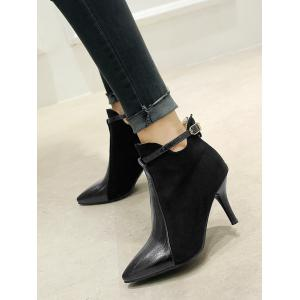 Buckle Strap Pointed Toe Stiletto Heel Boots - BLACK 36