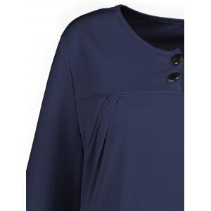 Plus Size Button Embellished Long Sleeve Smock Dress - CERULEAN 6XL