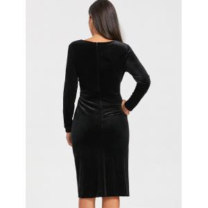 High Slit Front Knot Midi Velvet Dress - BLACK 2XL