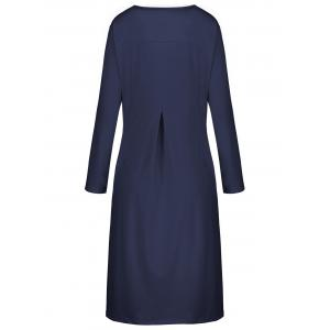 Plus Size Button Embellished Long Sleeve Smock Dress - CERULEAN 5XL
