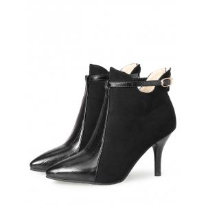 Buckle Strap Pointed Toe Stiletto Heel Boots - BLACK 38