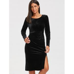 High Slit Front Knot Midi Velvet Dress - BLACK L