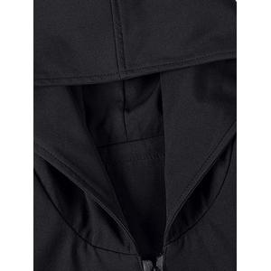 Horn Button Pockets Applique Long Zip Up Coat - BLACK 3XL
