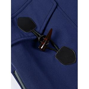 Horn Button Pockets Applique Long Zip Up Coat - BLUE 3XL
