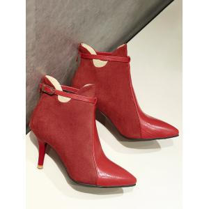 Buckle Strap Pointed Toe Stiletto Heel Boots - RED 41
