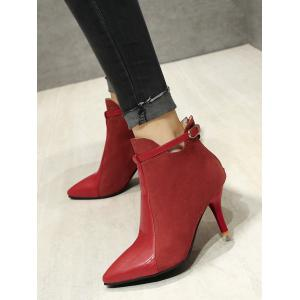 Buckle Strap Pointed Toe Stiletto Heel Boots - RED 40