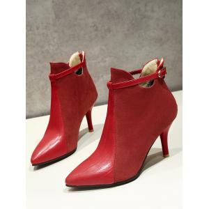 Buckle Strap Pointed Toe Stiletto Heel Boots - RED 37