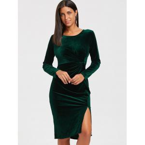 High Slit Front Knot Midi Velvet Dress - BLACKISH GREEN M