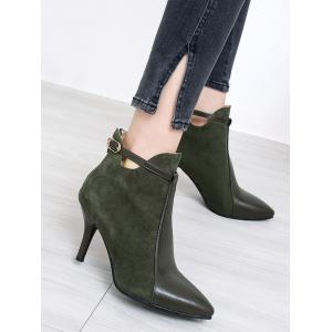 Buckle Strap Pointed Toe Stiletto Heel Boots - ARMY GREEN 41