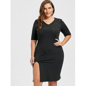 V Neck Plus Size Sheath Dress with Slit - BLACK 6XL