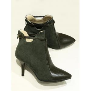 Buckle Strap Pointed Toe Stiletto Heel Boots - ARMY GREEN 37